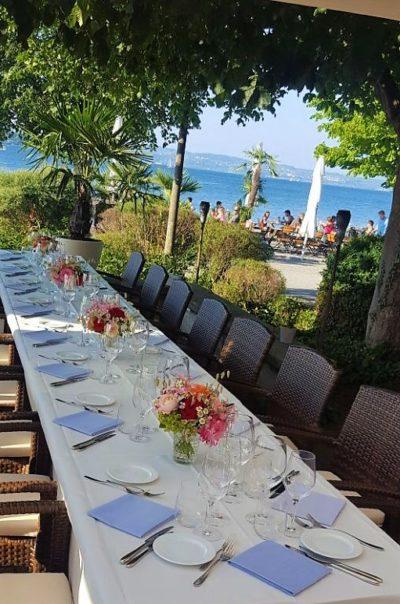 Festliche Feier am Strand des Bodensees
